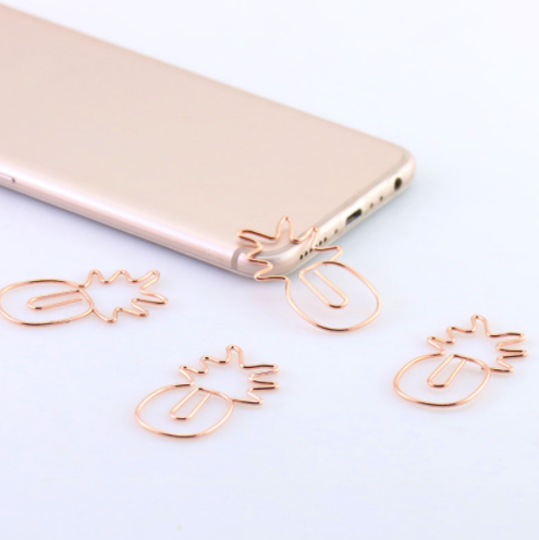 Large Pineapple paper clips in Rose Gold, set of 3