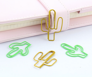 Large Cactus paper clips in Gold and Green, set of 4