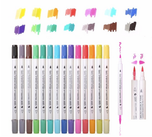 Double Watercolour Brush Markers, 28 colors