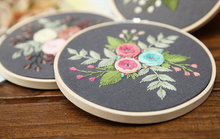Roses and Leaves Embroidery Kit 15 x 15 cms (With Hoop)