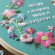 Floral Quote Embroidery Kit 20 x 20 cms (With Hoop)