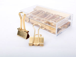 Gold Binder Paperclip set, 8 units