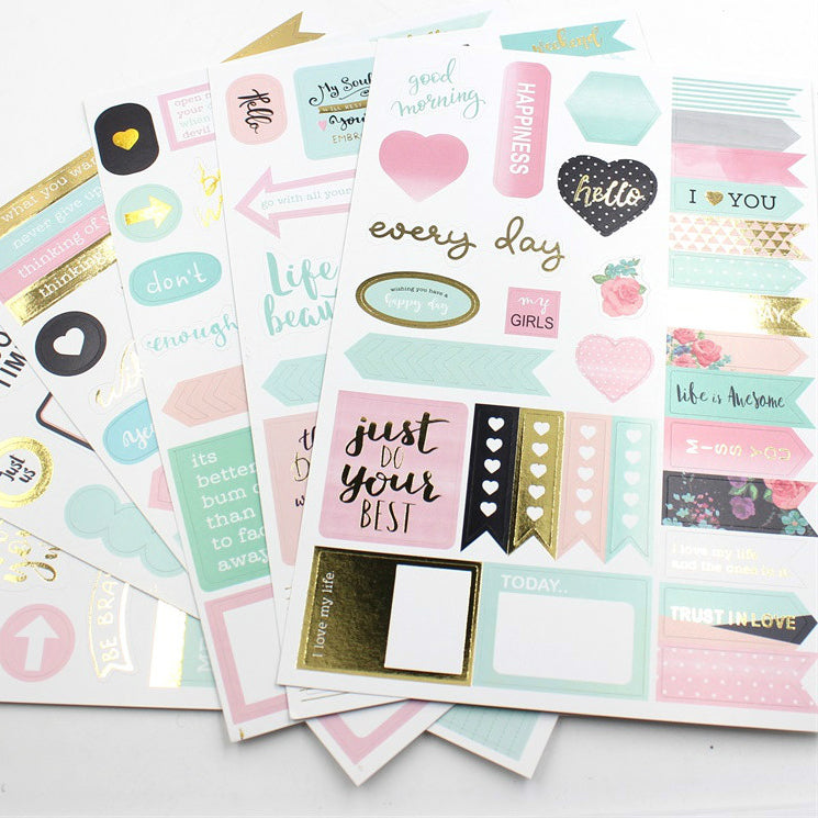 Pastel and Gold Sticker set, set of 6