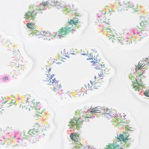 Watercolor Floral Wreath Sticky Notes