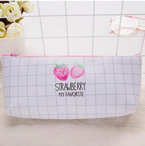 Watercolor Strawberry design Pencil Case
