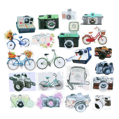 Vintage Camera & Bicycle Stickers, set of 20