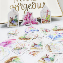 Watercolor Crystals + Terrariums Sticker, Set of 50