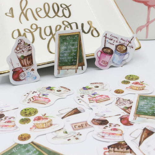 Watercolor Coffee Stickers, set of 50