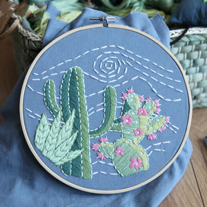 Cactus on Jeans Embroidery Kit 20 x 20 cms (No Hoop)