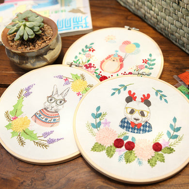 Vintage Animals Embroidery Kit 20 x 20 cms (With Hoop)