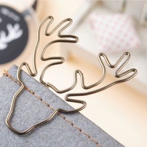 Vintage Reindeer Gold Paperclips, set of 8