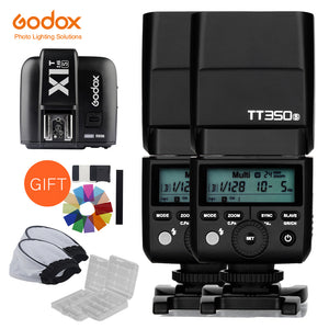 2x Godox Mini Speedlite TT350S Camera Flash TTL HSS GN36 +X1T-S Transmitter for Sony