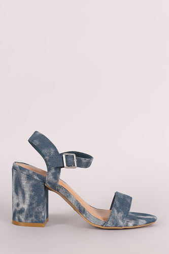 Bamboo Acid Wash Denim Blocked Heel - Beldewls