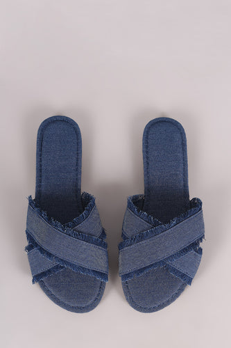 Bamboo Frayed Denim Cross Band Slide Sandal - Beldewls