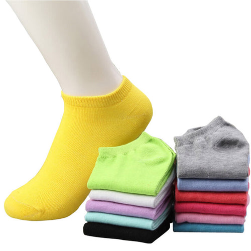 Summer Candy Color Boat Ankle Socks, 10 pairs