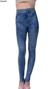 Denim Jean Leggings Black Blue Cotton Blend - Beldewls