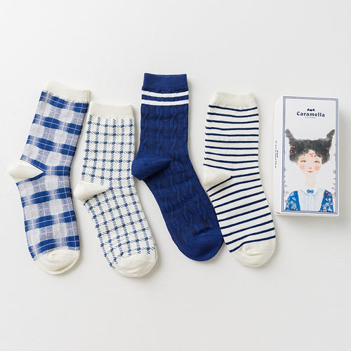 Gift Box Retro Style Striped Socks, 4 pairs - Beldewls