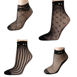 Women's Transparent  Mesh Silk Socks, 5 pair
