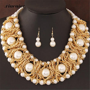 Bohemian Simulated Pearl Choker Necklace Earrings Set - Beldewls