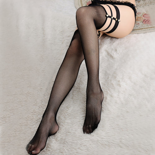 Hollow Stockings Breathable Mesh Rivet Lace Top - Beldewls