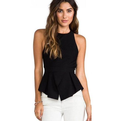 Backless Black O-neck Sleeveless Tank Tops - Beldewls