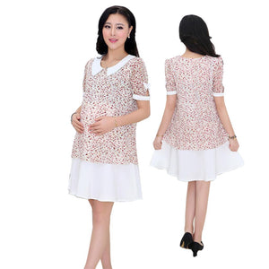 Lace Maternity Hollow out Delicate Floral Chiffon Dress - Beldewls
