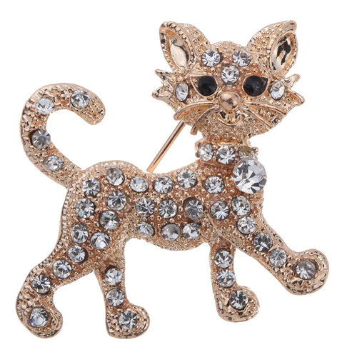 Fashion Crystal Cute Cats Brooch Pins - Beldewls