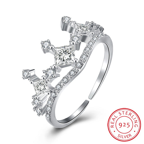 Sterling Silver Crown Finger Ring with Zircon - Beldewls