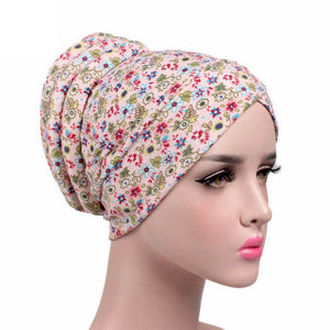 Floral Printed Cancer Chemo Hat Scarf Turban - Beldewls