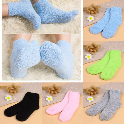 Winter Warm Socks Striped Pure Color Soft Fluffy Socks