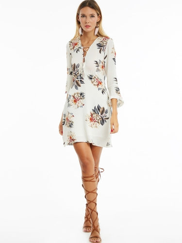Bell Sleeve Floral Dress  Plus Size - Beldewls