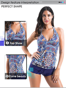 Banded Print Tankini Set with Boyshort - Beldewls