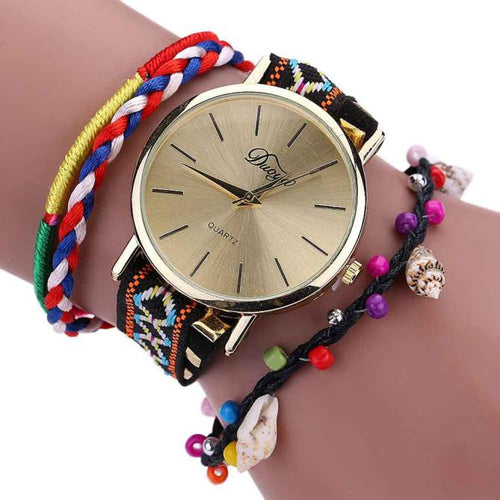 Crystal Chain Watch, Weave Wrap Around Bracelet - Beldewls