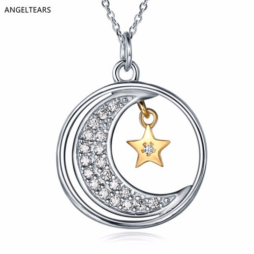 Sterling Silver Moon and Star Pendant Necklace with AAA Zircon - Beldewls