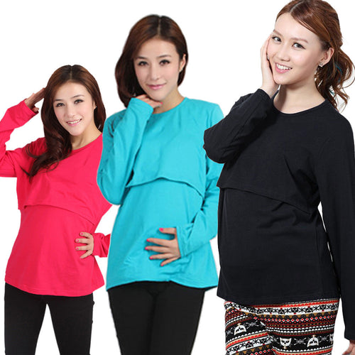 Maternity Breastfeeding Long Sleeve T-Shirt - Beldewls