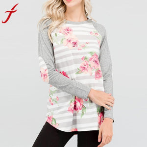 Long Sleeve Patchwork Striped Loose Shirts - Beldewls