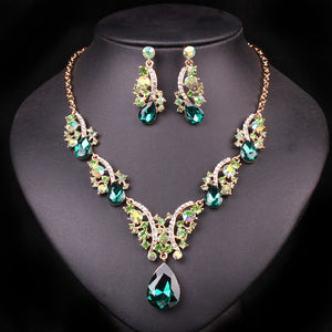 Fashion Crystal Necklaces Earrings Sets - Beldewls