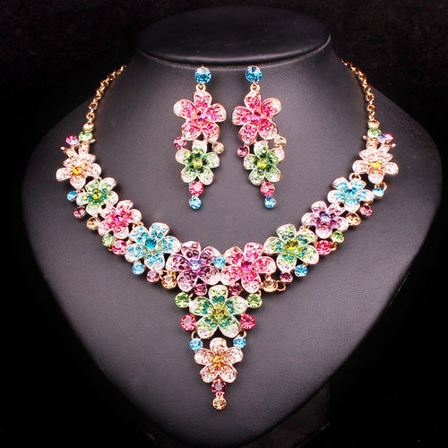 Rhinestone Necklace Earrings Set - Beldewls