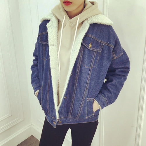 Casual Denim Jacket, Cotton Sherpa Lined, Plus Size - Beldewls
