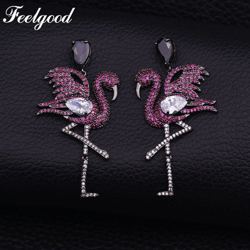 Black Gold Color Swan Earring Cubic Zirconia - Beldewls