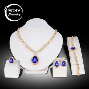 Four Pice Jewelry Set, Earrings, Necklace, Bracelet, and Ring - Beldewls