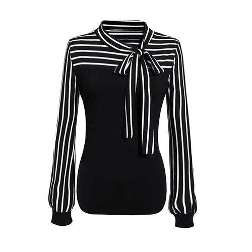 Bow Tie Neck Striped Long Sleeve Blouse - Beldewls
