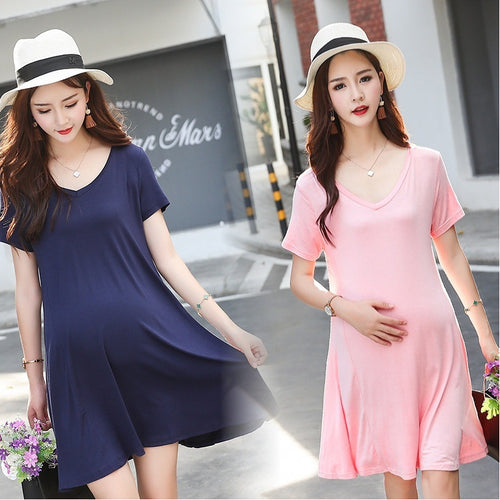 Simple Short Sleeve Maternity Dress - Beldewls