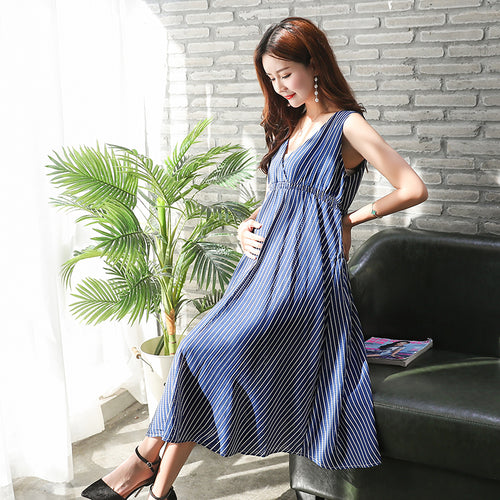 Maternity Dresses Loose  Fashion Stripe Dress - Beldewls
