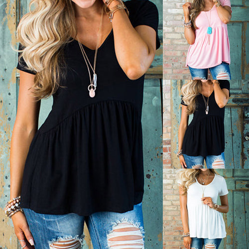 Solid Row PleatsShort Sleeve Top T-Shirt Blouse