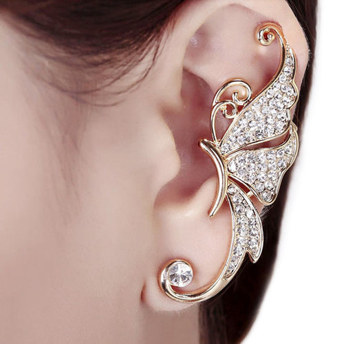 Rhinestones Inlaid Crystal Butterfly Shaped  1 Piece Ear Clip - Beldewls