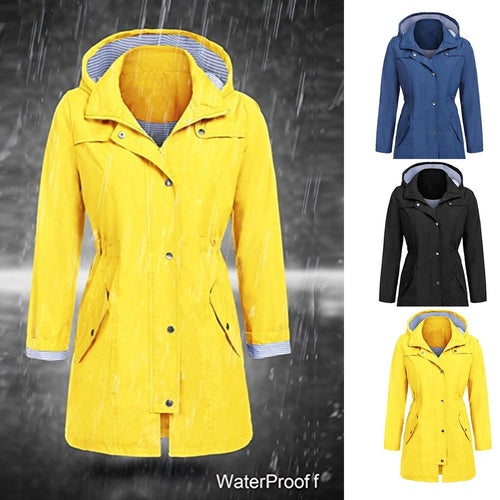Women's Solid Rain Jacket Outdoor Hoodie Waterproof