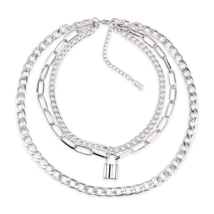 Triple layer Lock & Chain necklace