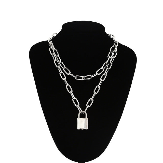 Double layer Link Lock Chain necklace