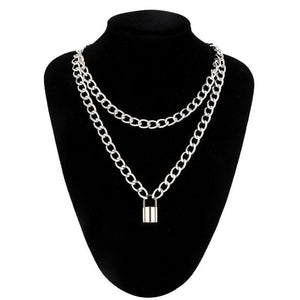 Double layer Stainless Steel Lock Chain necklace